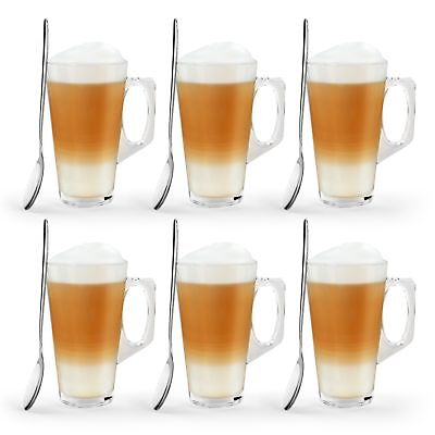 6X Latte Coffee Glasses & Spoons Cappuccino Lattes Tea Glass Cups Hot Drink Mugs