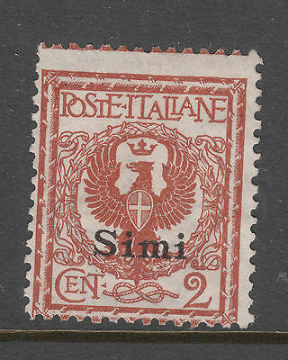 ITALIAN OCCUP. of DODECANESE Is. SIMI SG 3L 2c Brown OVPT Mint No Gum
