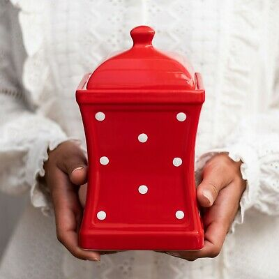 Handmade Red and White Polka Dot Ceramic Large Kitchen Canister, Cookie Jar