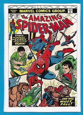 """Amazing Spider-Man #140_January 1975_Vf_Jackal_Grizzly_""""and One Must Fall""""!"""