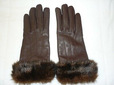 Bnwot Brown Leather Gloves With Faux Fur Trim Size Small