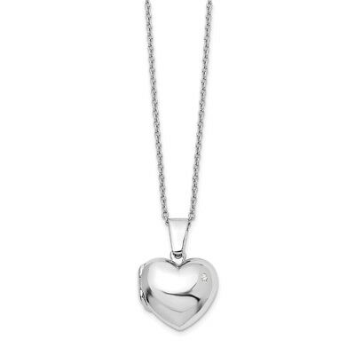 """.925 Sterling Silver 0.02 Ct Diamond Heart Locket Pendant 18"""" Necklace White Ice"""