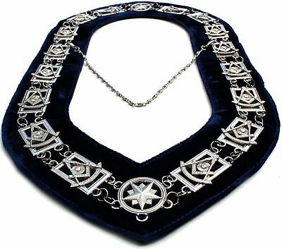 Regalia Masonic Past Master Silver Metal Chain Collar Blue Velvet On Sale Now!