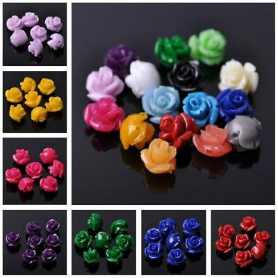 20pcs 10mm Rose Flower Loose Resin Beads lot DIY Jewelry Making Findings 34Color