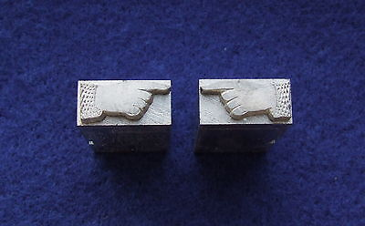 Letterpress Printing ADANA Pointing SOLID FISTS Newly Cast Metal Type 18 x 36pt