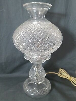 "Vintage 14"" Waterford Crystal ""Inishmaan"" ELECTRIC HURRICANE LAMP"