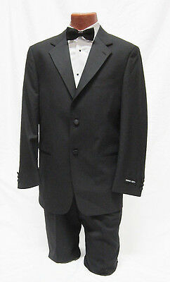 New 46R Mens Black 2 Button Notch Tuxedo Jacket w/ Pants Package Prom Outfit