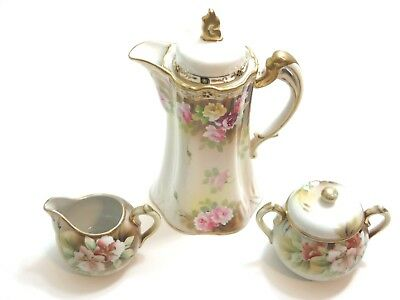 Antique Nippon Hand Painted Chocolate Pot W/ Sugar And Creamer Set Roses Flowers