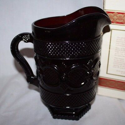 NEW IN BOX Vintage Collectible AVON 1876 CAPE COD Ruby Red Glass 44 oz PITCHER