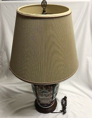 Vintage FREDERICK COOPER Asian Style Ceramic Table Lamp With Original FC Shade
