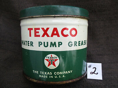 Old Vintage Texaco Oil & Petroleum Co. Water Pump Grease Small 1 Lb Tin Can