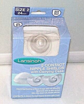 Lansinoh 2 24mm Contact Nipple Shields With Carrying Case BPA Free New Sealed