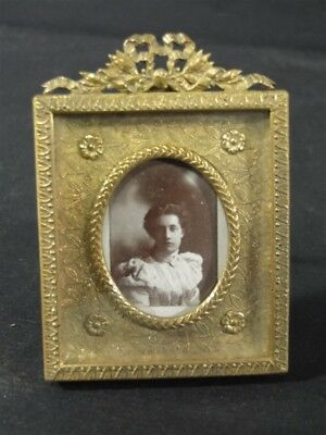 Vintage Fancy French Brass Bow Design Picture FRAME  Brass Easel Back