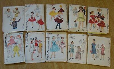 10 Girls Dress & Clothes Patterns 1950s Vogue McCalls Butterick Simplicity 6 7 8
