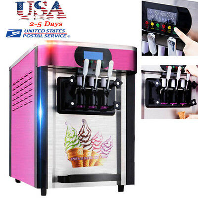 3 Flavor Commercial Frozen Soft Ice Cream Yogurt Cone Machine 20L/H USA SHIPPING