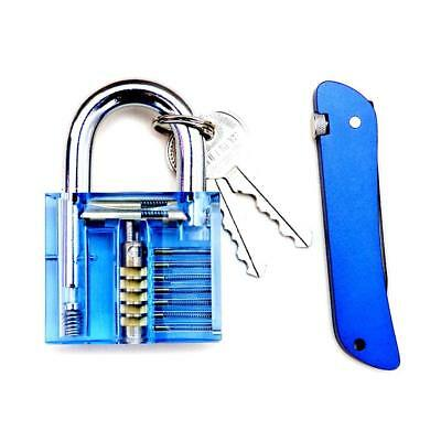 Transparent Lock Padlocks + Folding Needle Set Training Practice Learning Tools