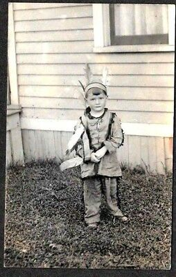 Boy in a Toy Indian Outfit, Niagara Falls, New York, 1915 RPPC Postcard