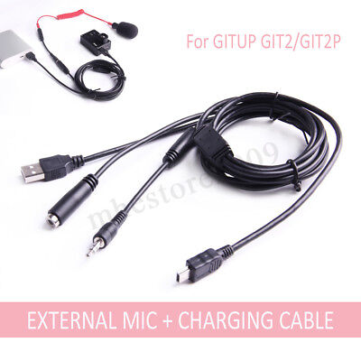 Mini USB 3.5mm External Microphone And Charging Cable For GITUP GIT2/GIT2P new