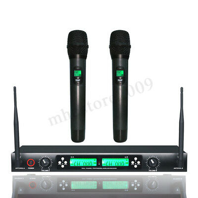 Pro Wireless UHF 2CH Auto Microphone System Dual Handheld Mic Home  new