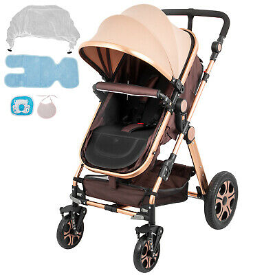 Baby Stroller 3 in 1 Foldable Anti-shock High View Carriage Infant Stroller