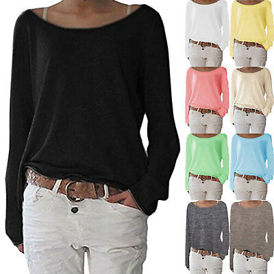 Womens Long Sleeve One Shoulder Sweater Ladies Casual Jumper Tops T Shirt Blouse