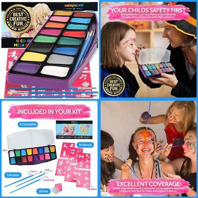 Award Winning Face Paint Kit Kids Professional Mega Fun Color Palette Creative