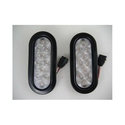 "Amber 10 LED 6"" Oval Trailer Park Turn Signal Flasher Light Kits / Clear Lens"