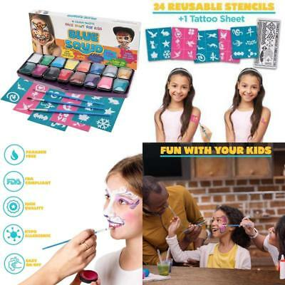 Blue Squid Face Paint Kids Color Stencils Professional Brushes Creative Party