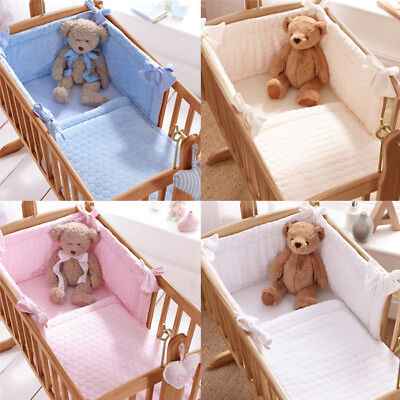 Clair de Lune Marshmallow 2 Piece Crib/Cradle Quilt & Bumper Bedding Set
