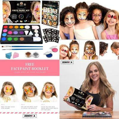 Face Body Paint Kit Kids Stencils Large Water Based Glitters Creative Halloween