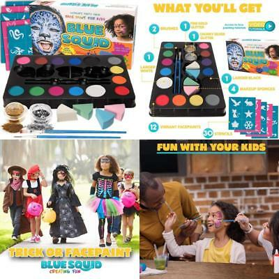 Blue Squid Face Paint Kit Kids Colors Glitters Stencils Halloween Professional
