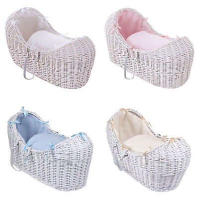 Clair de Lune Soft Waffle White Noah Pod Wicker Moses Basket