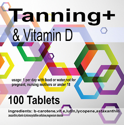 100 x TANNING PILLS FAST DARK AND LAST LONGER HIGH QUALITY TAN With Vitamin D