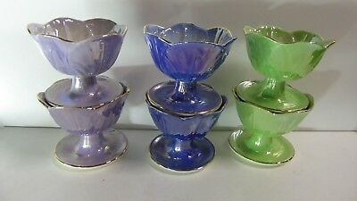 Vintage Maling Ware Set Of 6 Lustre Ceramic China Comport Dessert Sweet Bowls