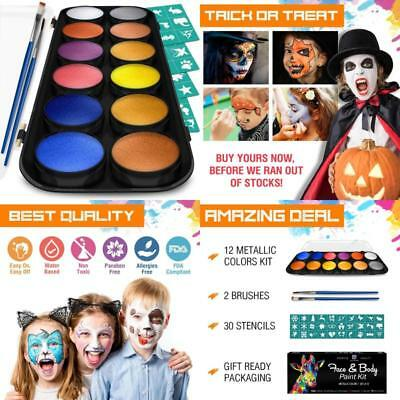Face Body Painting Kit Metallic Colors Bonus Flat Make Up Party Professional