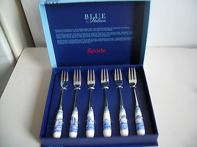 Boxed Set Of Spode Blue Italian  Pastry Forks New And  Boxed