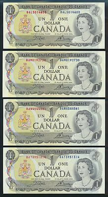 "Canada: 1973 $1 Sig. Crow-Bouey LOT 4 WORD PREFIXES ""BAL, BAM, BAN & BAT"". AUNC+"