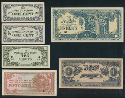 """Malaya: JAPANESE INVASION WWII 1942 1c to $10 """"SET OF 6"""". PM1a-M7c Cat UNC $28"""