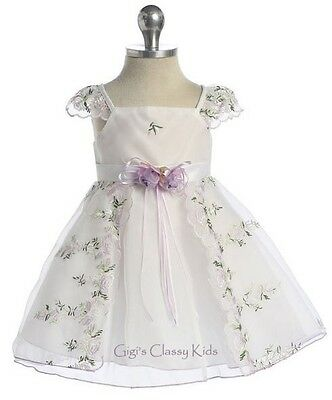 New Baby Flower Girls White Lilac Dress Christmas Easter Party Wedding 505