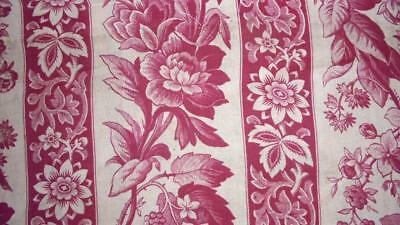 AUTUMN CLEAROUT,  MID 19th CENTURY FRENCH MADDER TOILE DE JOUY BLACKBERRIES 25.