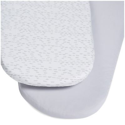 Snuz MOSES BASKET/PRAM 2 PACK FITTED SHEETS – WAVE MONO Baby Bedding