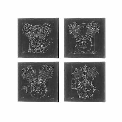 Ethan Harper 'Motorcycle Engine Blueprint' Canvas Art (Set of 4)