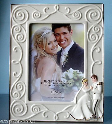 Lenox Disney Cinderella & Prince Charming Photo Frame 5x7 Happily Ever After New