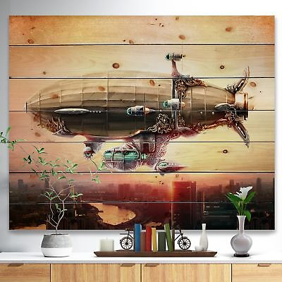 'Dirigible Balloon in Sky over City' Abstract Print on Natural Pine Wood - beige