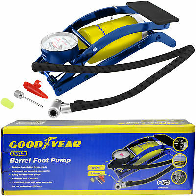 Goodyear Single Barrel Cylinder Tyre Foot Pump Air Inflator Car Van Bicycle Bike