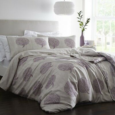 Coppice Tree Duvet Cover Set 100% Cotton Quilt Bedding Pillowcases Set Mulberry