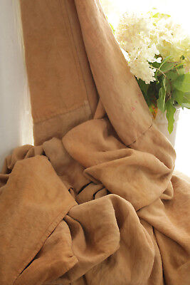 Antique French sheet dyed linen burnt orange pieced patched textile 78 X 89 inch