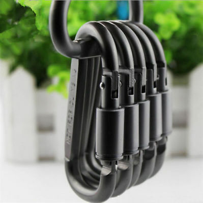 6 x Grey Aluminum Lock Carabiner Clip Snap Hook Screw Keychain Camping fishing