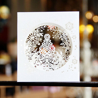 3D Handmade Pop Up Tree Box Snowflake Greeting Card Party Gift Merry Christmas