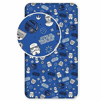 Stars Wars Galaxy Single Fitted Sheet Blue 100% Cotton Stormtrooper